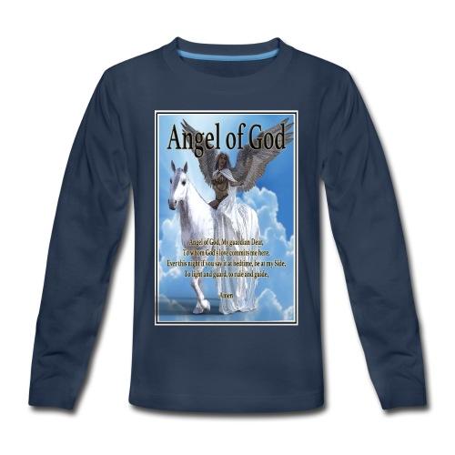 Angel of God, My guardian Dear (version with sky) - Kids' Premium Long Sleeve T-Shirt