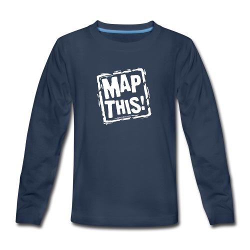 MapThis! White Stamp Logo - Kids' Premium Long Sleeve T-Shirt
