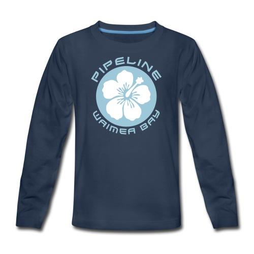 Pipeline at Waimea Bay - White Hibiscus Flower - Kids' Premium Long Sleeve T-Shirt
