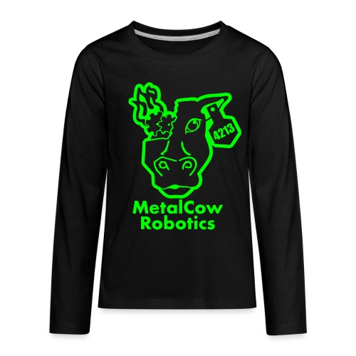 MetalCowLogo GreenOutline - Kids' Premium Long Sleeve T-Shirt