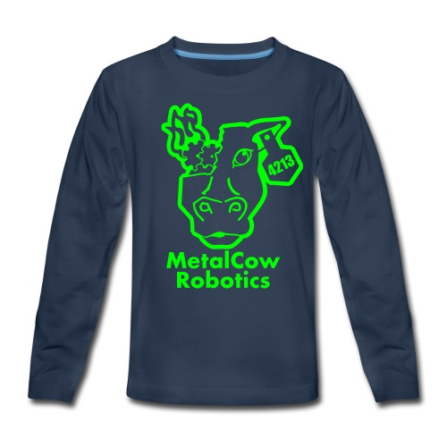 MetalCowLogo GreenOutline - Kids' Premium Long Sleeve T-Shirt