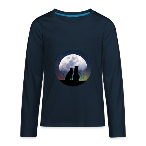 wolves looking at the moon - Kids' Premium Long Sleeve T-Shirt