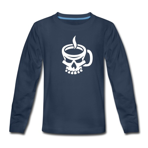 Caffeinated Coffee Skull - Kids' Premium Long Sleeve T-Shirt