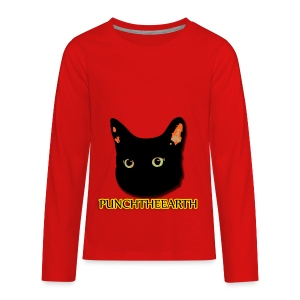 PunchTheEarth Cat with Text - Kids' Premium Long Sleeve T-Shirt