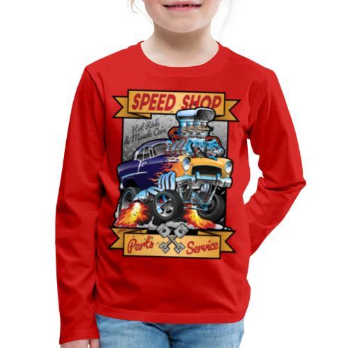 Speed Shop Hot Rod Muscle Car Cartoon Illustration - Kids' Premium Long Sleeve T-Shirt