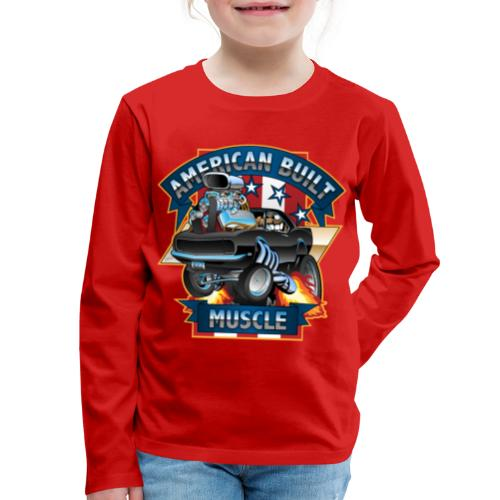 American Built Muscle - Classic Muscle Car Cartoon - Kids' Premium Long Sleeve T-Shirt