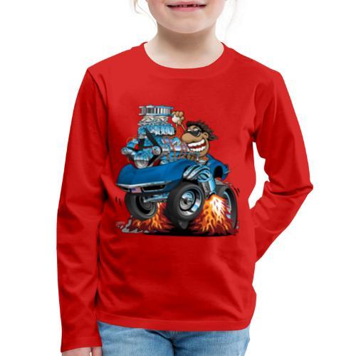 Classic '69 American Sports Car Cartoon - Kids' Premium Long Sleeve T-Shirt