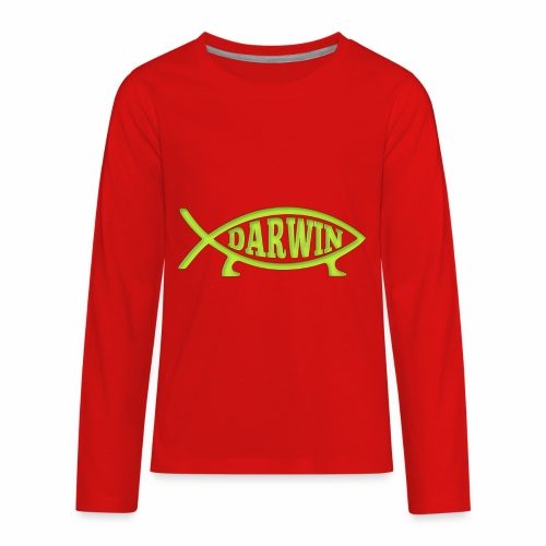 Darwin Fish - Green - Kids' Premium Long Sleeve T-Shirt