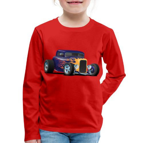 Vintage Hot Rod Car with Classic Flames - Kids' Premium Long Sleeve T-Shirt