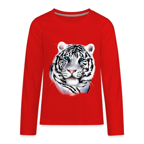 White Tiger Face - Kids' Premium Long Sleeve T-Shirt