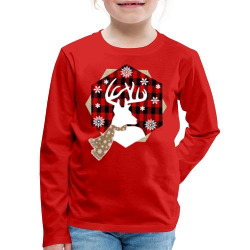 reindeer on plaid - Kids' Premium Long Sleeve T-Shirt