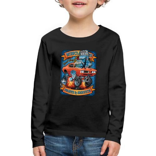 Classic Sixties Muscle Car Parts & Service Cartoon - Kids' Premium Long Sleeve T-Shirt