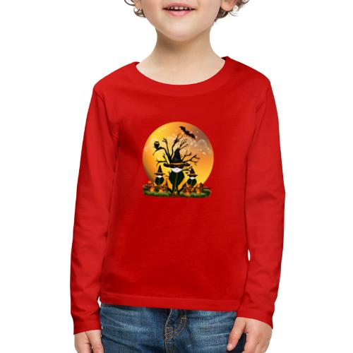 Happy Halloween with 3 masked cats - Kids' Premium Long Sleeve T-Shirt