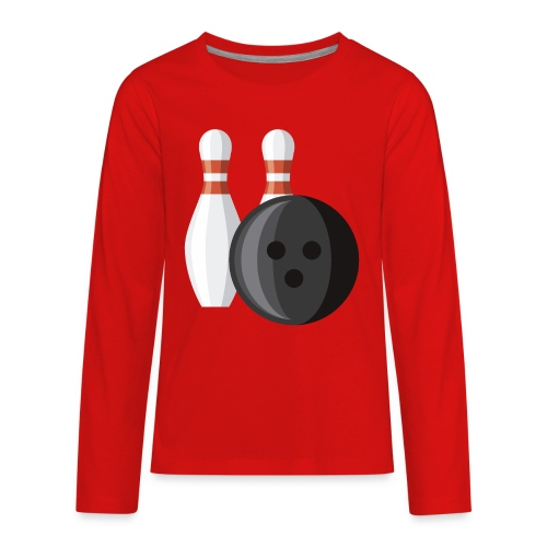 Bowling Ball and Pins - Kids' Premium Long Sleeve T-Shirt
