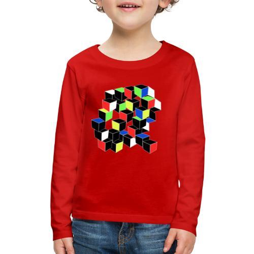 Optical Illusion Shirt - Cubes in 6 colors- Cubist - Kids' Premium Long Sleeve T-Shirt