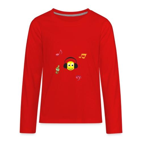smiley face headphones - Kids' Premium Long Sleeve T-Shirt