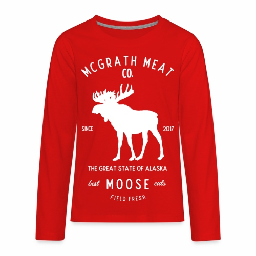 McGrath Meat Company White Stamp Logo - Kids' Premium Long Sleeve T-Shirt