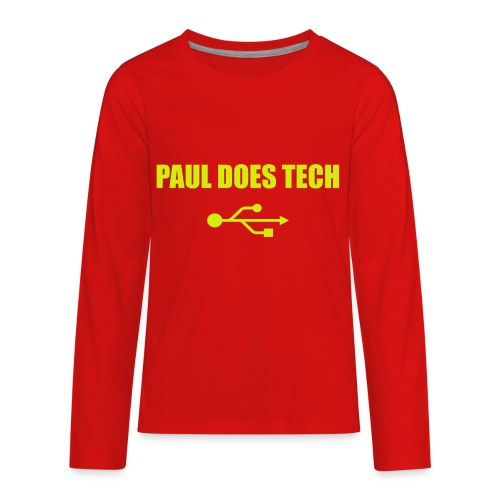 Paul Does Tech Yellow Logo With USB (MERCH) - Kids' Premium Long Sleeve T-Shirt