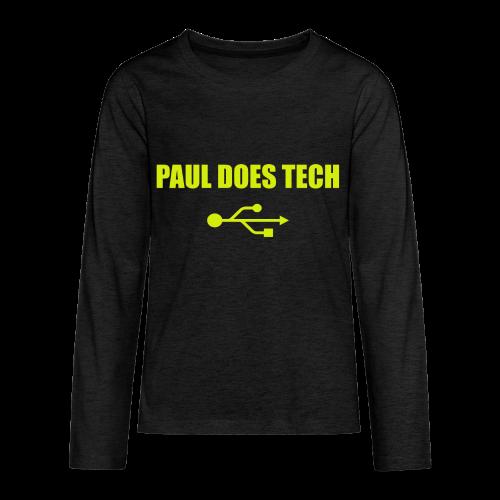 Paul Does Tech Yellow Logo With USB (MERCH) - Kids' Premium Long Sleeve T-Shirt
