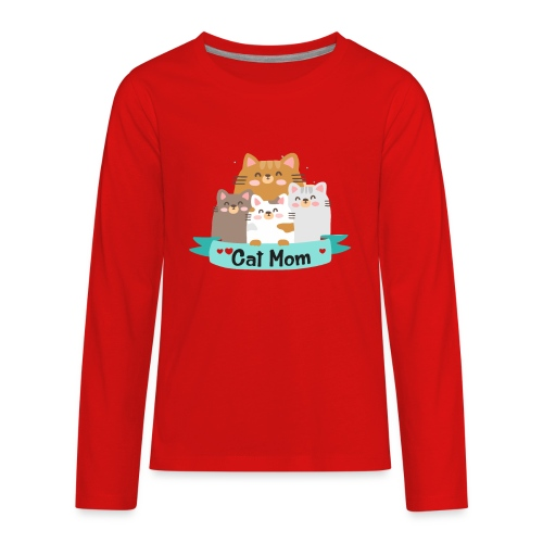 Cat MOM, Cat Mother, Cat Mum, Mother's Day - Kids' Premium Long Sleeve T-Shirt