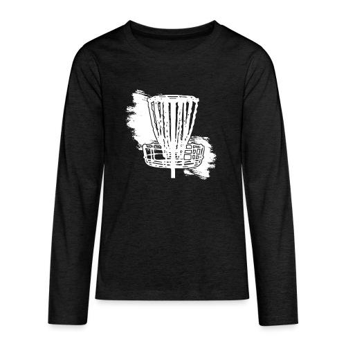 Disc Golf Basket White Print - Kids' Premium Long Sleeve T-Shirt