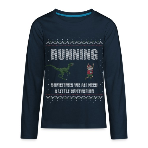 Ugly Christmas Sweater Running Dino and Santa - Kids' Premium Long Sleeve T-Shirt