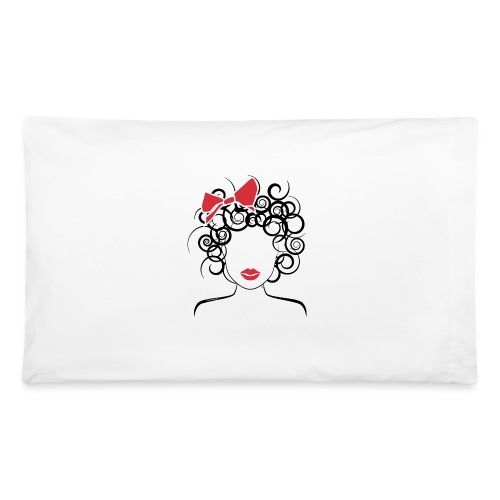 Curly Girl with Red Bow_Global Couture_logo T-Shir - Pillowcase 32'' x 20''