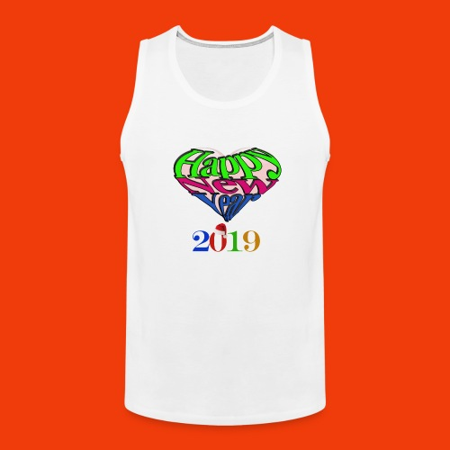 Happy new year 2019 T-shirt for all With heart - Men's Premium Tank