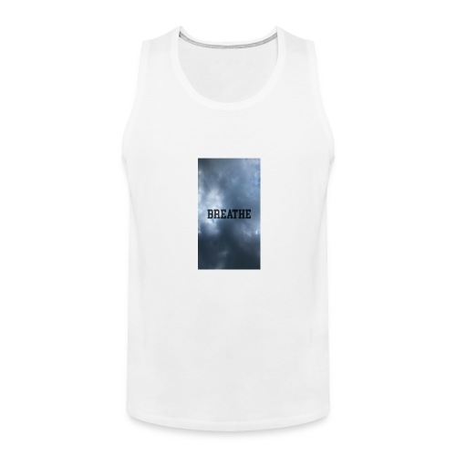 Clouds with Breathe text - Men's Premium Tank