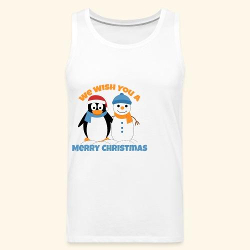 santa penguin with snowman christmas - Men's Premium Tank