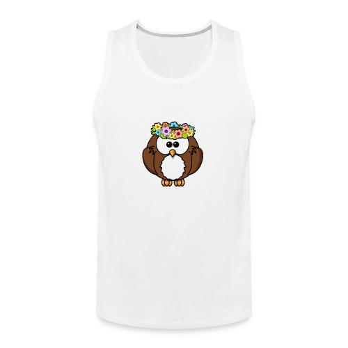 Owl With Flowers On Head T-Shirt - Men's Premium Tank