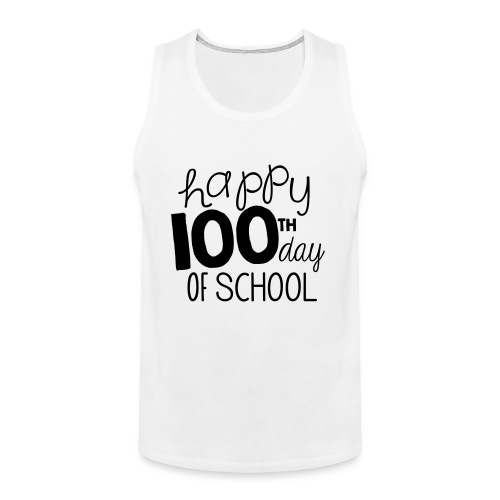 Happy 100th Day of School Chalk Teacher T-Shirt - Men's Premium Tank