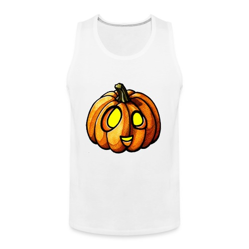 Pumpkin Halloween watercolor scribblesirii - Men's Premium Tank