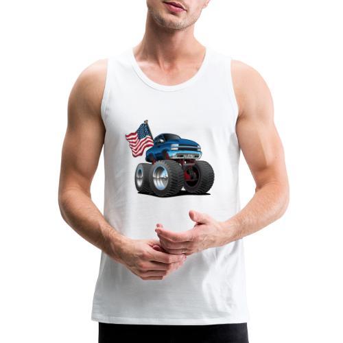 Monster Pickup Truck with USA Flag Cartoon - Men's Premium Tank