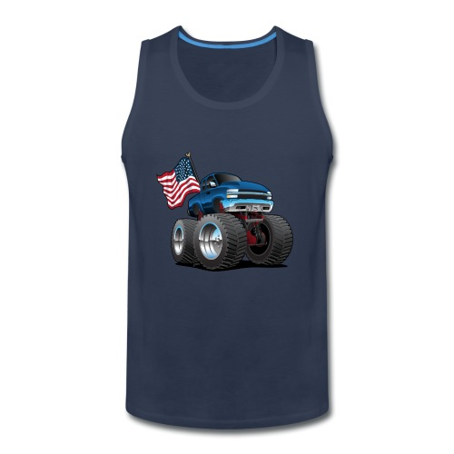 Monster Pickup Truck with USA Flag Cartoon - Men's Premium Tank
