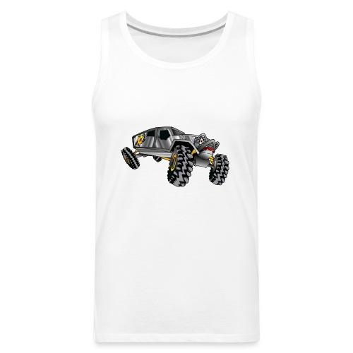 Rock Crawling Monster Truck Silver - Men's Premium Tank