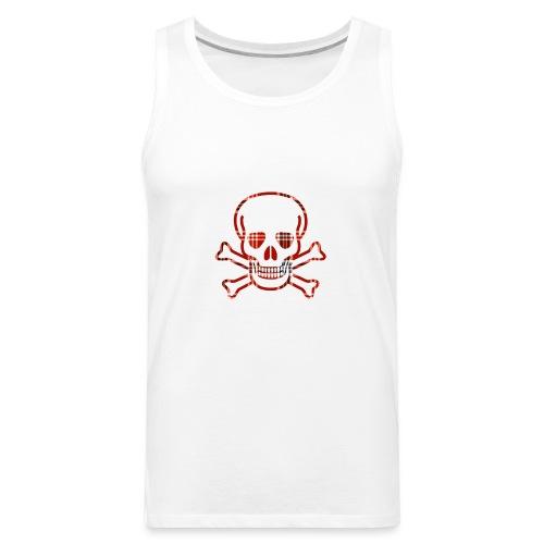 Skull & Cross Bones Red Plaid - Men's Premium Tank