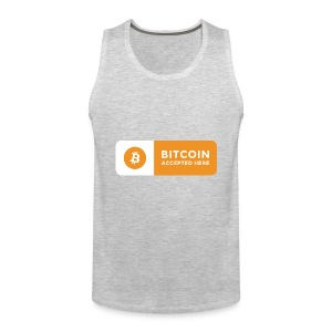 Bitcoin Accepted Here Logo Symbol Cryptocurrency - Men's Premium Tank