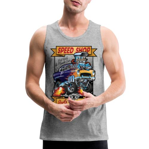 Speed Shop Hot Rod Muscle Car Cartoon Illustration - Men's Premium Tank