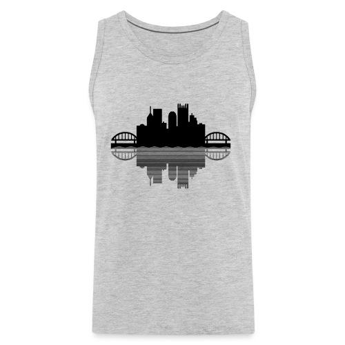 Pittsburgh Skyline Reflection (Black) - Men's Premium Tank