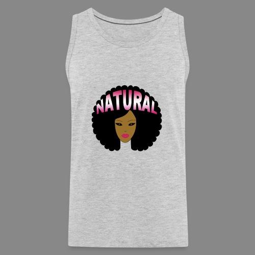 Natural Afro (Pink) - Men's Premium Tank