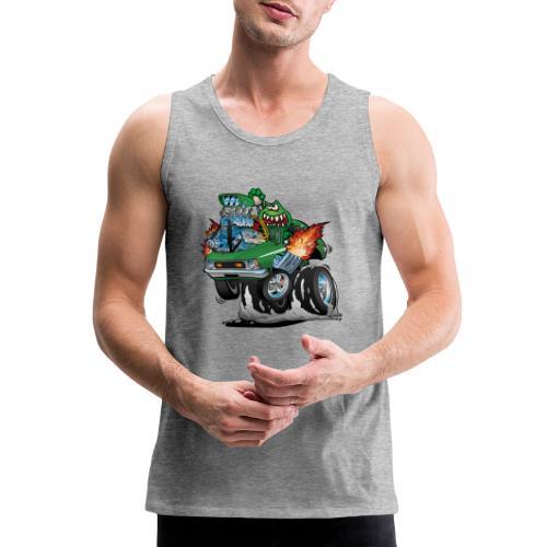 Seventies Green Hot Rod Funny Car Cartoon - Men's Premium Tank