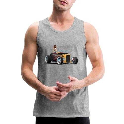 Custom Hot Rod Roadster Car with Flames and Sexy W - Men's Premium Tank