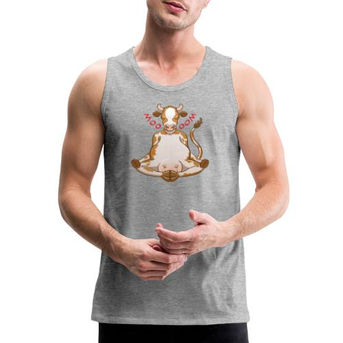 Pretty cow meditating while changing moo into oom - Men's Premium Tank