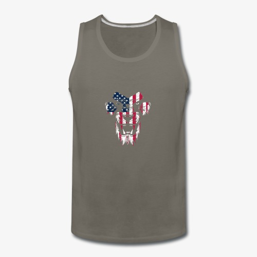 Lovely American Lion USA Flag Silhouette Portrait - Men's Premium Tank