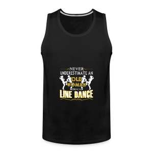 Old Woman Who Can Line Dance Shirt - Men's Premium Tank