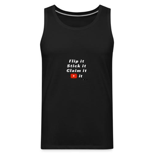 Flip It White Design T-Shirt - Back Flip Inverted - Men's Premium Tank