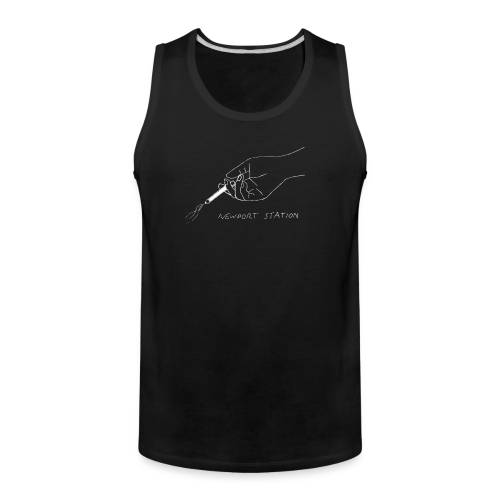 hand holding cig (etched in white) - Men's Premium Tank