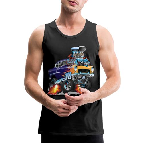 Classic Fifties Hot Rod Muscle Car Cartoon - Men's Premium Tank