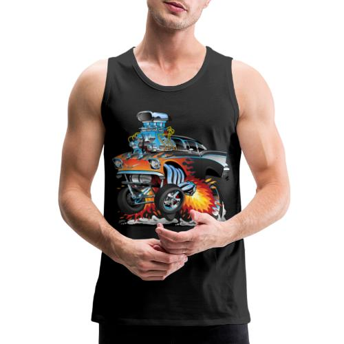 Classic hot rod 57 gasser dragster car cartoon - Men's Premium Tank